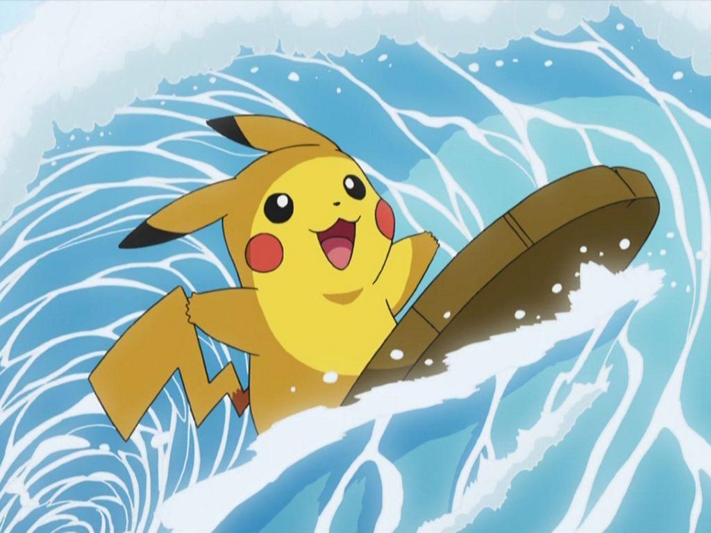 Pikachu con movimiento surf en el Día de la comunidad de Pokémon GO que se celebrará el 20 de Enero