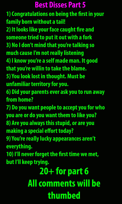 Best Disses Part 5