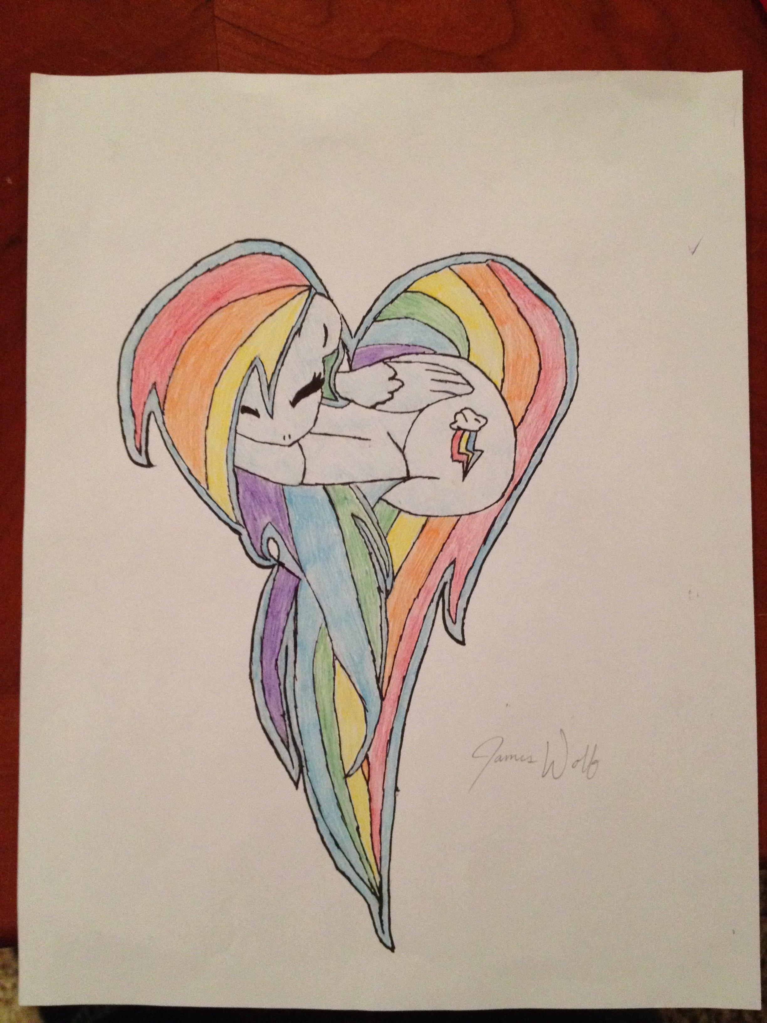 Rainbow Dash Heart Drawing.