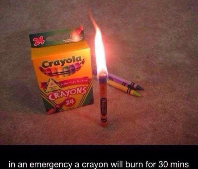 ...okay. . in an emergency a crayon will burn far 30 mins. how long will they last if it isn't an emergency?