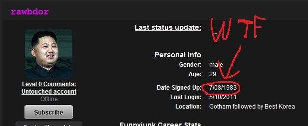 1983. time travelling fj'er.. yup dperp. and account La st statu s U Ed ate: Personal Info Gender: ma e Age: 29 Date Signed Up: Last Login: LMWI u/ i. ..., Loca cock