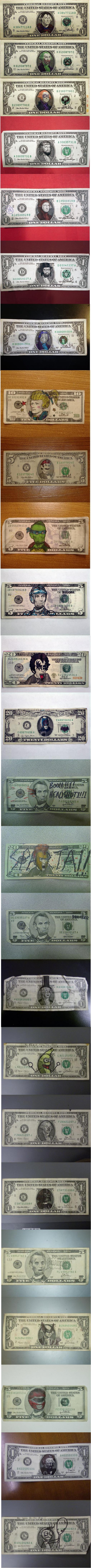 25 best defaced bills. .. aww! What about the boner one? The $1 bill, bONEr. xDD I still think its funny..