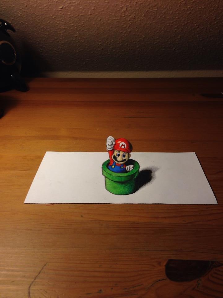 3D SuperMario Drawing.. . 3d Drawing Art Optical Illusion