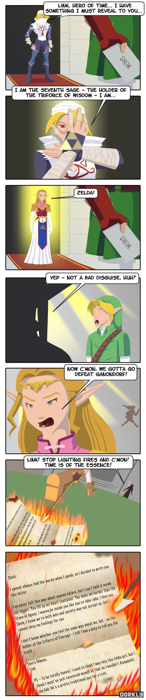 ".. . LINK. HERO OF TIME... I UAVE I MUST REVEAL TO 'IOU... C' MOM. WE GOTTA ttwtt "" DEFEAT .' link Zelda Tri force Letter comic funny a Money fire death games Cars Crash"