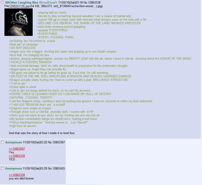 4chan /tg/ Los Tiburon. The epic tale of Los Tiburon Shark of the land masked wrestler!. I Brother Laughing Man 1' ( Sat) KB, 380x373, jstu_ ) pplaying half orc