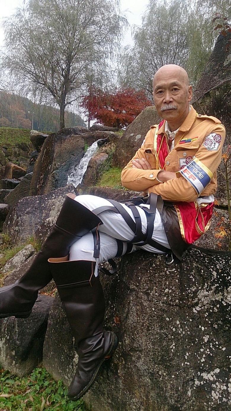 "60 years old man cosplaying. Attack on Titan (進撃の巨人 Shingeki no Kyojin?, lit. ""Advancing Giants"") is a Japanese manga series written and illustrated b"