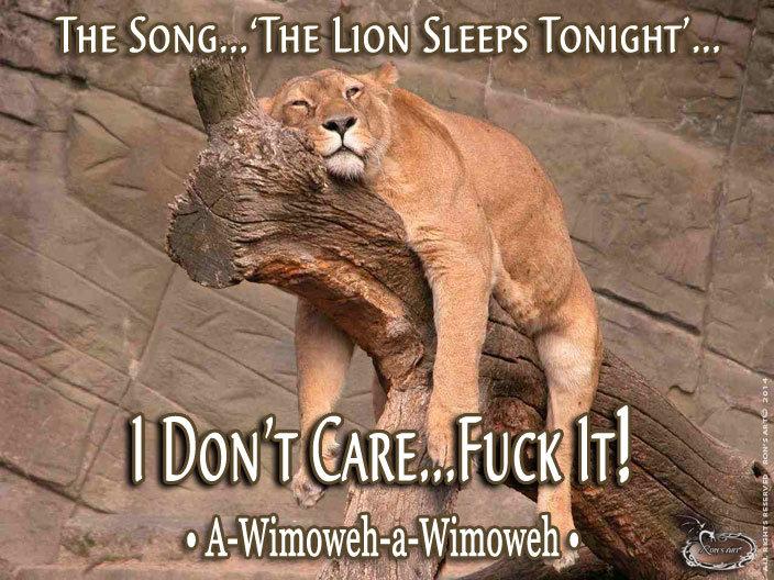 A Wimoweh. LOL. THE , SLEEPS TONIGHT'... sgit, usc? itp, t if