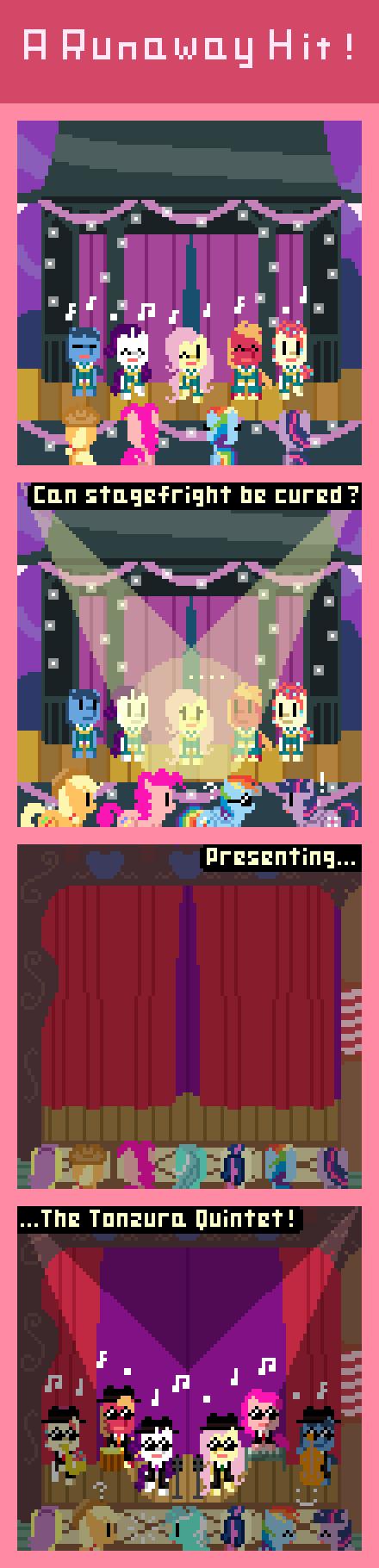 A Runaway Hit!. via: zztfox.deviantart.com/art/A-Runaway-Hit-434710651?ga_submit_new=10%253A1392614194&ga_type=edit&ga_changes=1&ga_recent=1 Rarity & Flutte retro pony pixel earthbound My Little Pony comic