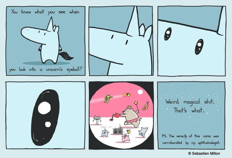 A Unicorn's Eyeball. One day I'm going to live in a unicorn's eyeball.. Sebastien Millon. What?