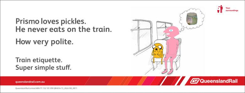 Adventure Time Prismo train etiquette. . Prismo loves pickles. He never eats on the train. How very polite. Train etiquette. Super simple stuff. Rag Limeted ABM Adventure Time Prismo jake