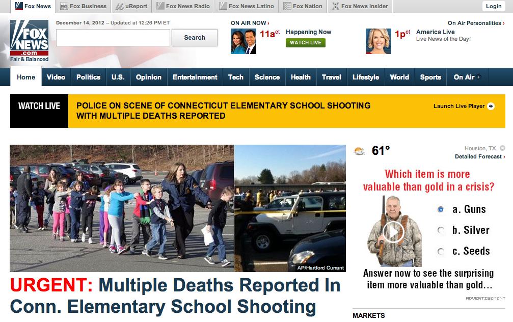 advertising, you are doing it wrong. . l E Fox News Le,] Fox Business comport M Fox News Radio - Fox News Latino E Fox Nation x Fox News insider Lapin PM ET on  school shooting