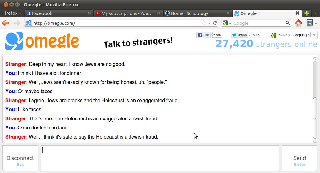 "Ahh Omegle. . Mozilla Firefox Lg http: // w -at Google R tta w Like --rarer: 'thweet . a Select Language} T Alli?, ohmegle Talk to strangers'. 27, 420"" Stranger"