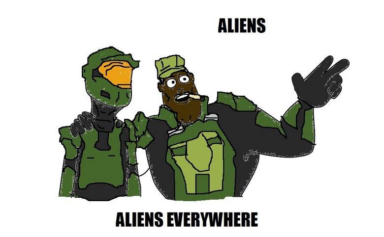 Aliens. Aliens everywhere..... covernant aliens Halo