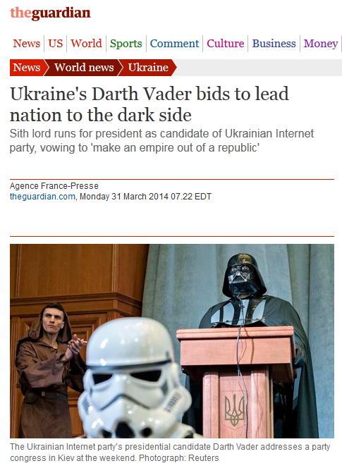 All Hail Ukraine. So apparently this was happening.... News US World Sports Camment Culture Business Monty lil ' news lil fal, ' Ukraine' s Darth Vader bids to  ukraine star wars Darth Vader