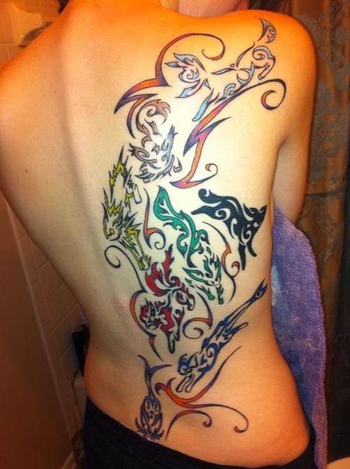 Amazing tribal eeveelutions tattoo. .. wow thats unbeleeveeble