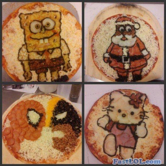 Amazing Pizza. More pics: FastLol . com. amazing pizza hello kitty Santa lol funny humor