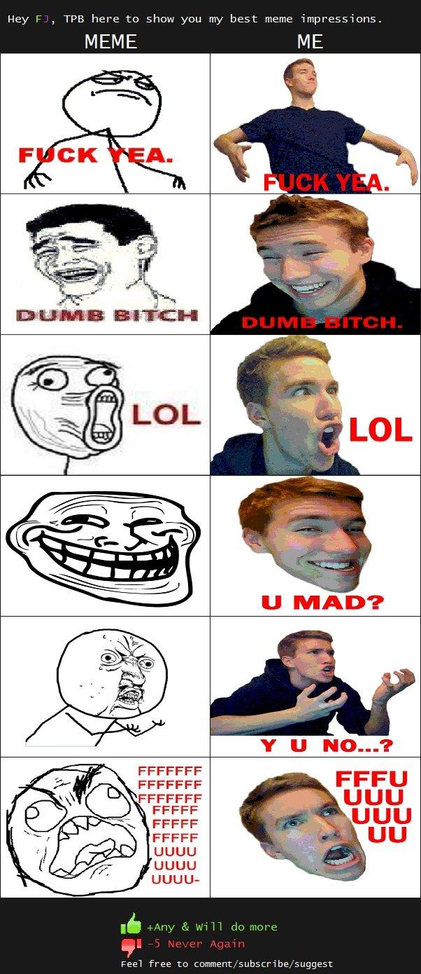 An attempt at Memes. Edit5: Check out part 2 here:<br /> funnyjunk.com/funny_pictures/1484888/MOAR+Meme+Impressions/. MEME ME FFCCFF UGUU UGUU UGUU- Feer  meme impressions tpb lol dumb bitch fuck yea rage y u no troll