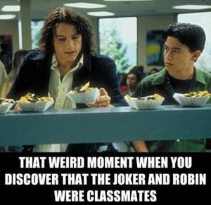 "and batman trusted him...smh. . THIN WEIRD ' T WHEN 'Hill THIN"" THE JIMMEH Mill ' WERE. I miss Heath Ledger, he was a great actor. joker robin classmates"
