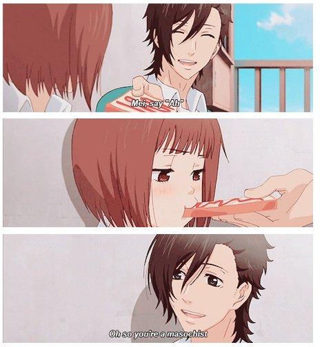 Anime logic. Every time I bite toast someone calls me a masochist. Source: Suki-tte Ii na yo... Is this from something? Like anime, manga or web comics.