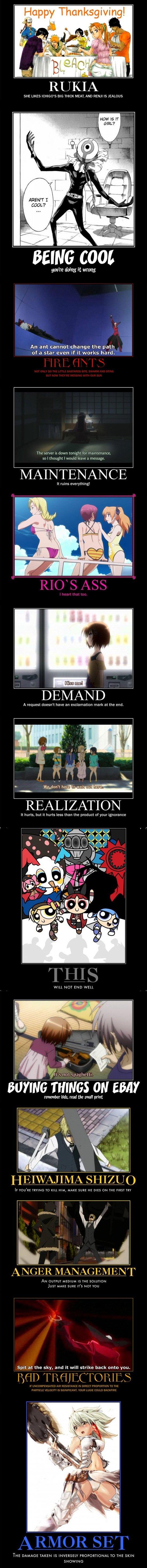 Anime Mot Posters 694. Found and Compiled, Not Made 1 - Bleach 2 - Future Diary 3,12 - Needless 4 - Oreimo 7 - K-on 8 - Powerpuff Girls / Madoka 10.11 - Durarar Anime mot posters