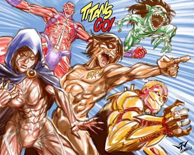 Attack on Teen Titans. OrangeGreenBluePurpleRed WhiteYellow.. Starfire + Colossal Titan = Galactus? attack on teen titans