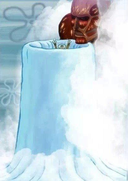 attack on titans. .. meatball, meatball, spaghetti underneath