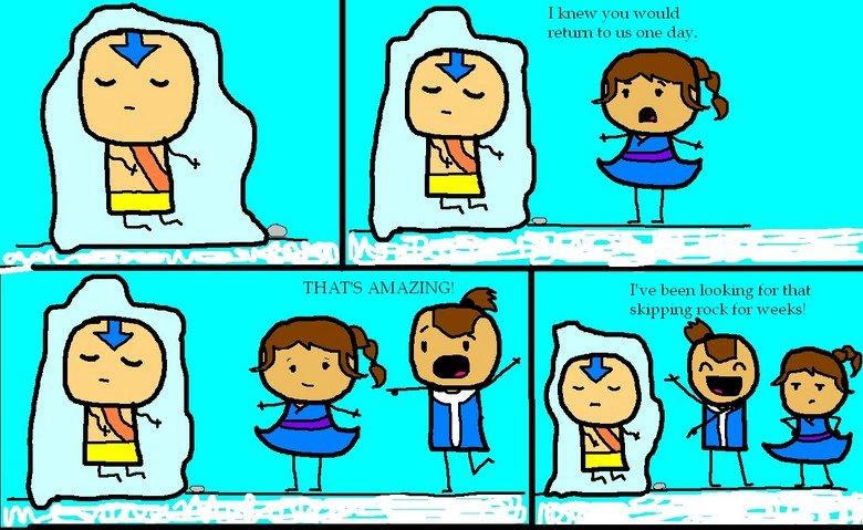 Avatar: When Katara met Aang. When Katara met Aang! And... Sokka was there too.. I knew you would us one day. I' been loc/ king for that skipping rock. for week avatar aang katara Airbending Waterbending Frozen sokka taytom
