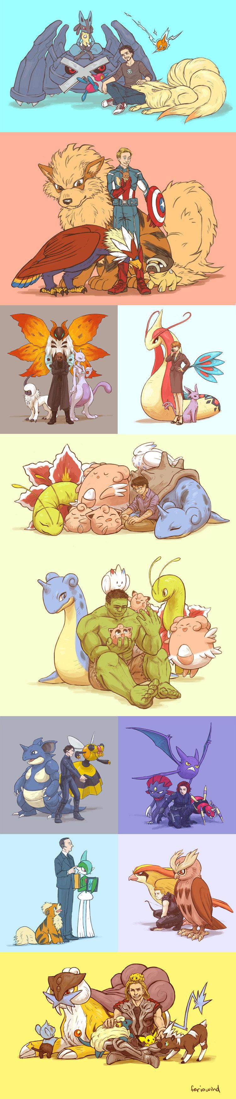 Avengers' Pokémon Assemble!. source: feriowind.deviantart.com/gallery/38002142.