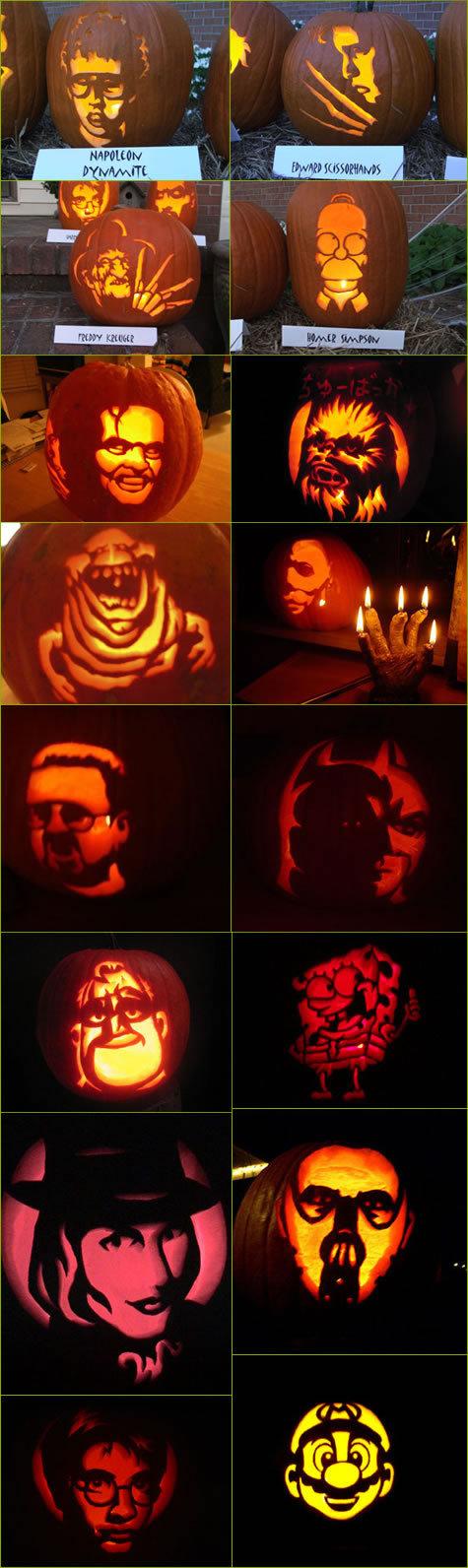 Awesome Halloween Pumpkins. Win.. whos the one beside spongebob