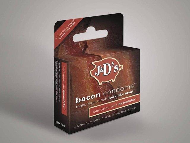BACON !. Bacon flavored condoms. ill. MMMMMMmmmm.... Rank grease, yummy. gf dont be hungr
