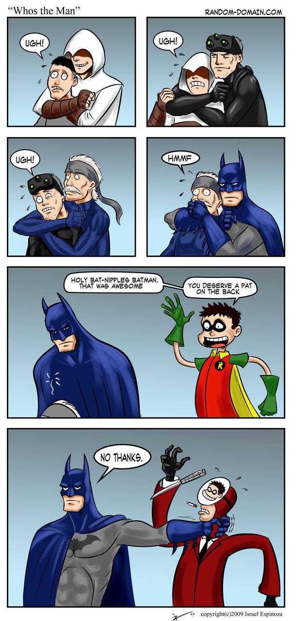 "Badass title. not-so badass description. . . . aaaaand its not mine just fyi. HOLT % e, BATMAN. THAT WA? AWEOSME YOU ' u"" E A FAT. ""Wow Batman! How did you know he was a spy?"" ""I... I didn't..."""
