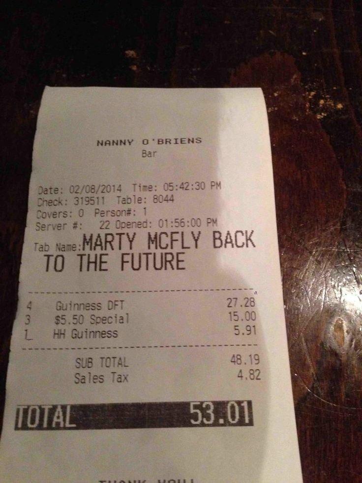Bar Bill. Bar Bill. Ct ' BRIE'S thir Check: 319511 Tan: 2 Savers: D personn#: 1 TO THE FUTURE