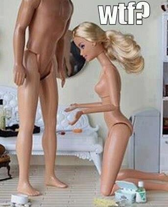 Barbie WTF?. Poor Ken.. aint like she got a hole to put it in..... lol WTF LMAO funny funny pic Barbie Ken