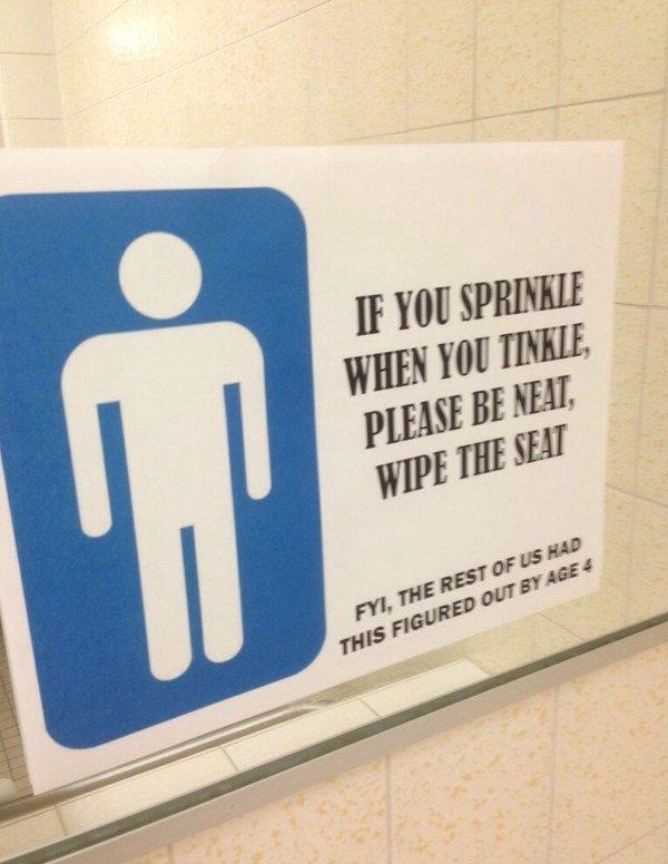 Bathroom Sign. .. a true saiyan, always sprinkles when he tinkles...
