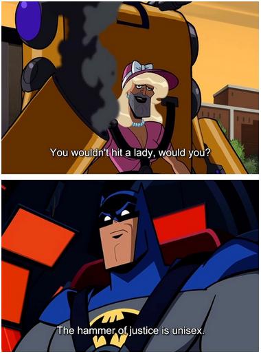 batman gets kinky. . mmer. injustice is unisex.