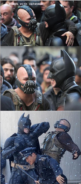 "batman vs bane. OC .. ""HYEHH... BUT I SHLPT WIZH TALIA"""