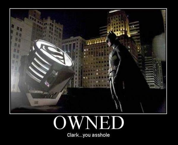 batman owned. whos beter, superman or batman? i say superman.<br /> o and rate please.. Clarkyboi asshole. Clark Kunt Superman ownedm batman