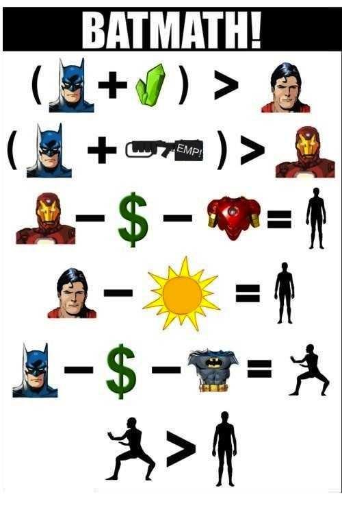 Batmath. Math doesn't lie...most of the time.. BATMAN! llwr (l. illgal batman math DC Marvel superheroes