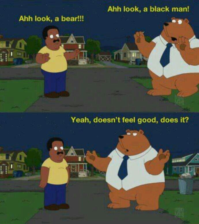 Bear. . Ahh look, a black man! Aim look, a bear!!! Yeah, doesit' t feet good, does it?. wow that's really some dark humor