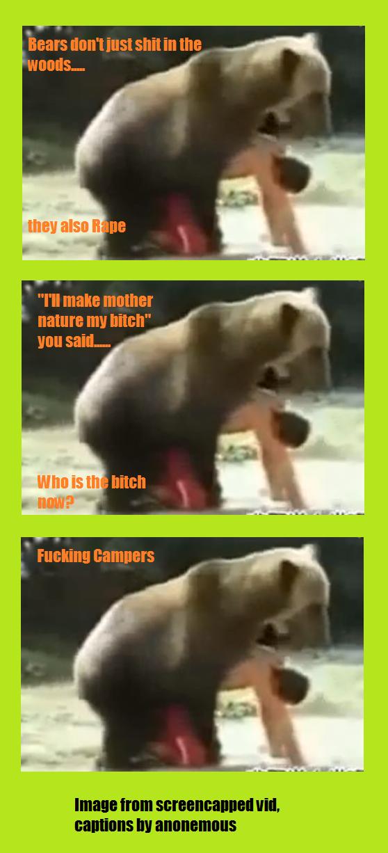 Bearly funny. nondescriptive description.. Looks like he prefers it.....Bearback