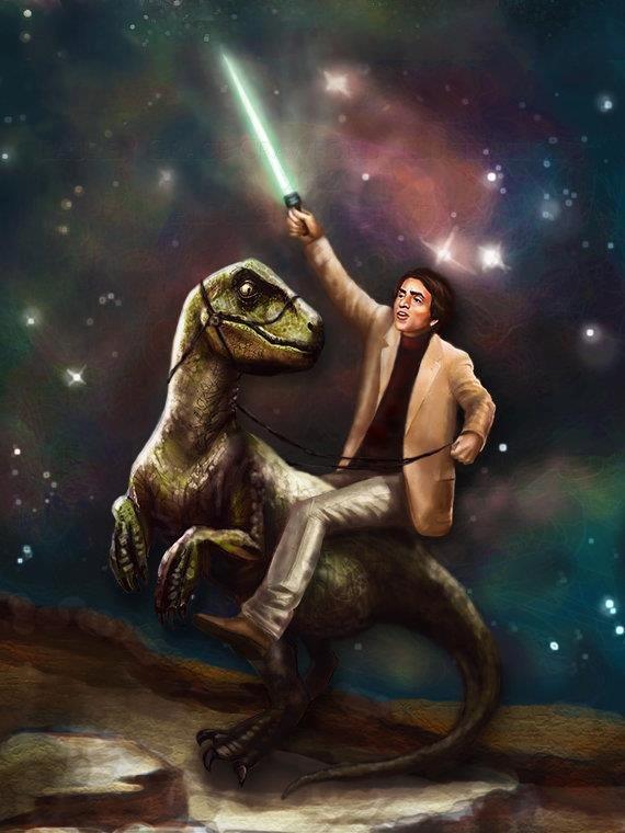 Because Carl Sagan. Carl Sagan riding a dinosaur, holding a lightsaber, in space. Because science..