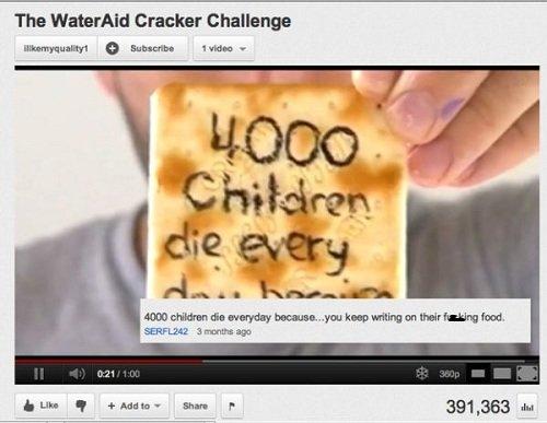 Because.... look at them tags. The Wateraid Cracker Challenge I: tlt Subunit: hum - lall l% alltid Iel invad. inn q - Hun P 391, look at them des