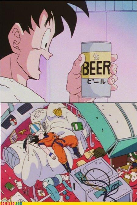 beer. .. But he throws away the beer....