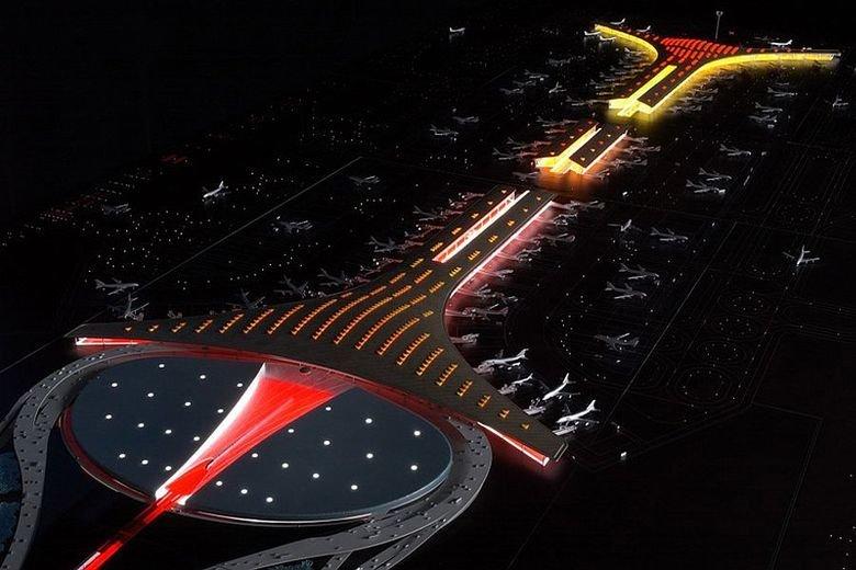 Beijing Airport at night. .