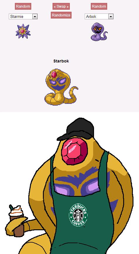 Best Pokemon fusion yet!. The Barista Pokemon. lli! tiel starsiege Randm hiil' Shrunk. I love the new additions the owner's made.