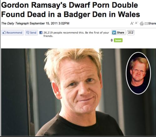 Best headline ever?!. Lol midget porn. Gordan Ramsay' s Dwarf Pam Bumble Forum Dead IT an Badger Dan IT Wales TI Recommend B, Send I 25. 219 people 2' y, this.