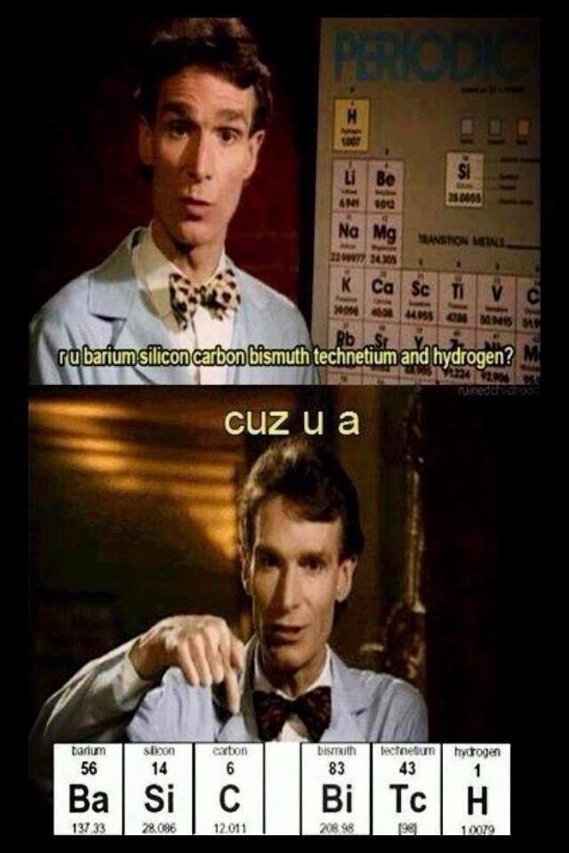 Bill Nye.. Being a bad ass.. imam ? glr.. i' htn' technetium and hydrogen?
