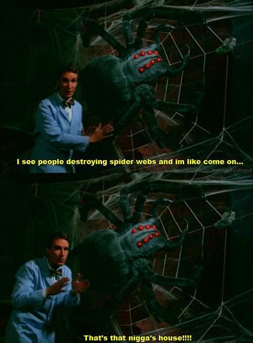 Bill Nye. . I see purple destroying spider webs like come en... bill