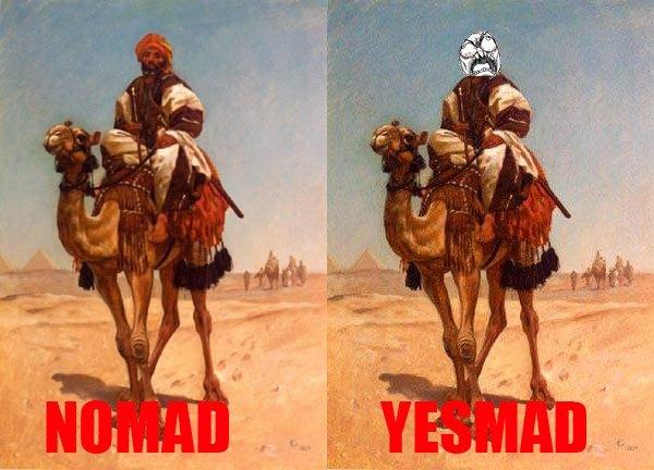 bla bla bla. hurrrrrrrrr duurrrrrrr lame puns rulz.. Did someone say Nomad? i no Even Mad