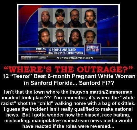 "black on white rape 2. repost add me as a friend. 12 ""Teens"" Beat lemonth Pregnant White Woman in Sanford Florida.. Sanford Fl?'? Isn' t that the town where the"